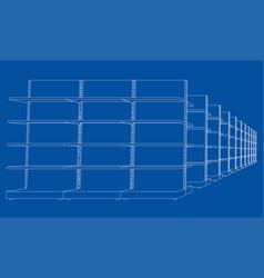 racks with shelves sketch vector image