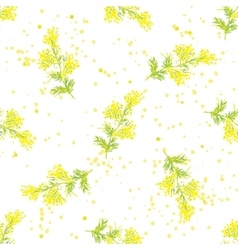 Seamless spring pattern with sprig of mimosa vector image vector image