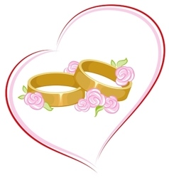 Wedding engagement rings with flowers vector image