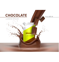 chocolate package mock up realistic on vector image vector image