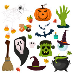 halloween symbols pumpkin ghost holiday collection vector image