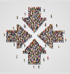 large group of people in the convergent arrows vector image