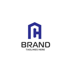 letter ch real estate logo vector image