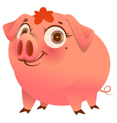 pretty pink pig isolated on white cartoon vector image