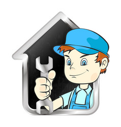 repairman with a wrench and house symbol vector image