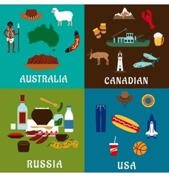 Russia Canada USA and Australia travel icons vector image