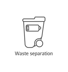waste separation thin line icon ecology and vector image vector image