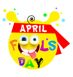 april fools day yellow funny smile vector image vector image