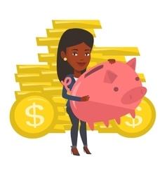 Businessman holding a big piggy bank vector