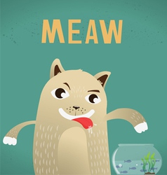 cat hungry and fish vector image
