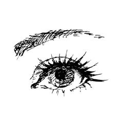 female eye carelessly drawn vector image