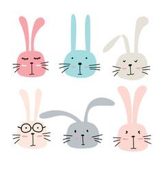 hand drawn bunny cute characters set vector image