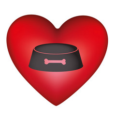 red heart shape with pet bowl with bone symbol vector image