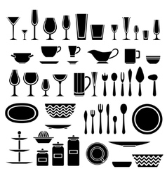 Set of silhouettes of cookware and kitchen vector image vector image