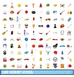 100 hobby icons set cartoon style vector image