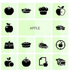 14 apple icons vector