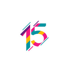 15 years anniversary celebration full color vector