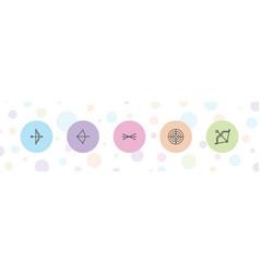 5 archery icons vector
