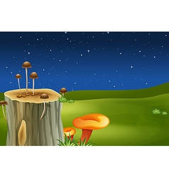 A stump with mushrooms vector