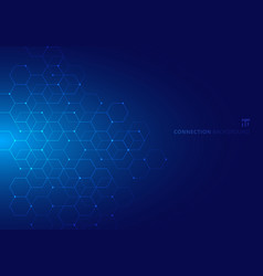 abstract hexagons with nodes digital geometric vector image