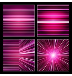Abstract striped purple and violet backgrounds set vector image