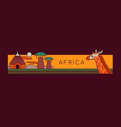 Africa travel landscape outline cartoon concept vector
