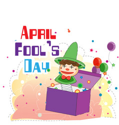 april fools day a jester box balloon background ve vector image