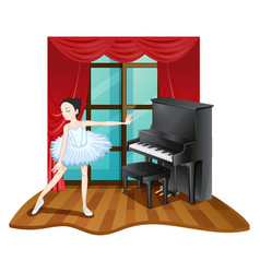 Ballerina dances in room vector
