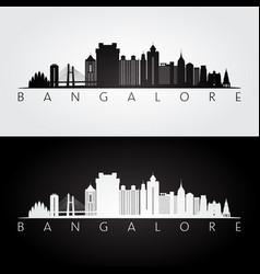 bangalore skyline and landmarks silhouette black vector image
