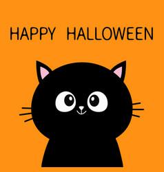 black cat sitting silhouette happy halloween cute vector image
