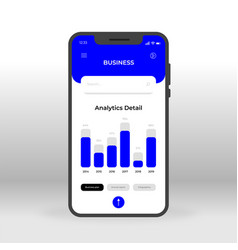 Blue business ui ux gui screen for mobile apps vector