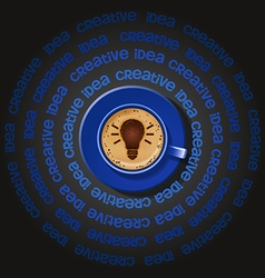 blue cup of light bulb in cappuccino vector image