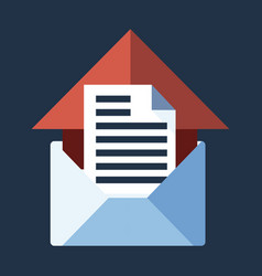 Blue flat icon open envelope and message object vector