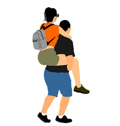 boy carrying girl on back funny game vector image