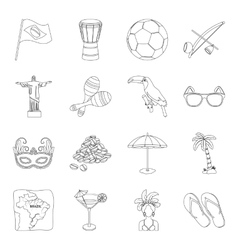 Brazil country set icons in outline style Big vector