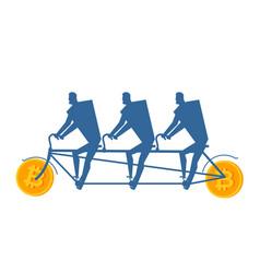 Businessman at bitcoin bicycle tandem mining pool vector