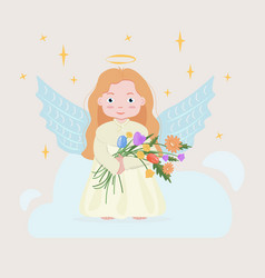 Cartoon angel girl with flowers vector