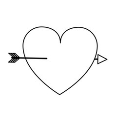 Cartoon heart with arrow love valentines day vector