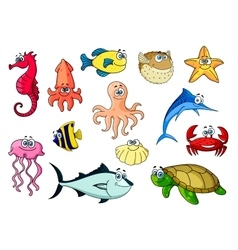 Cartoon sea animals for underwater wildlife design vector