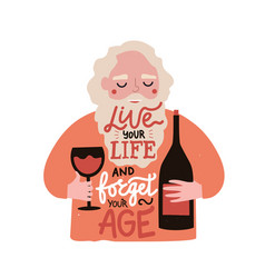 cheerful old man with beard holding glass red vector image