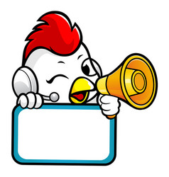 Chicken character holding a loudspeaker and board vector