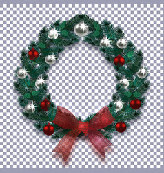 christmas new year christmas wreath with shadow vector image