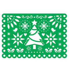 Christmas papel picado design mexican xmas vector