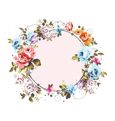 Circle background with shabby vintage flowers vector