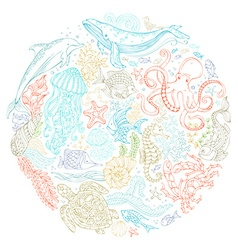Circle set of ocean animals and plants contours vector