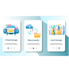 cloud storage mobile app onboarding screens vector image