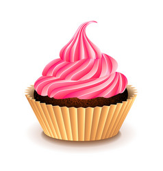 Cupcake with pink cream isolated on white vector