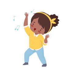 Cute african american girl singing and dancing vector