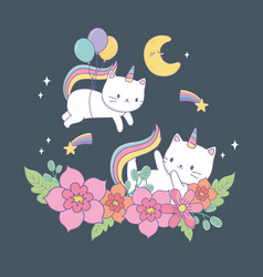 cute caticorns with floral decoration at night vector image