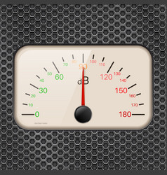 Decibel meter on metal perforated background vector